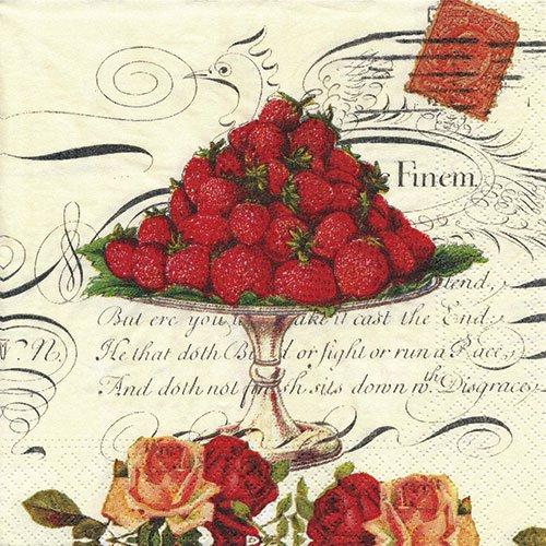 ペーパーナプキン(33)NOUVEAU:(5枚)Strawberry&Rose-NO17