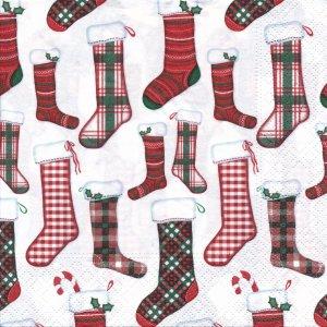 ペーパーナプキン(33)NOUVEAU:(5枚)クリスマス靴下-NO57