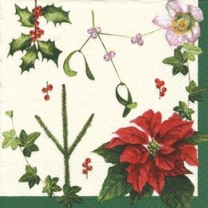 ペーパーナプキン(33)NOUVEAU:(5枚)クリスマスフラワー-NO63