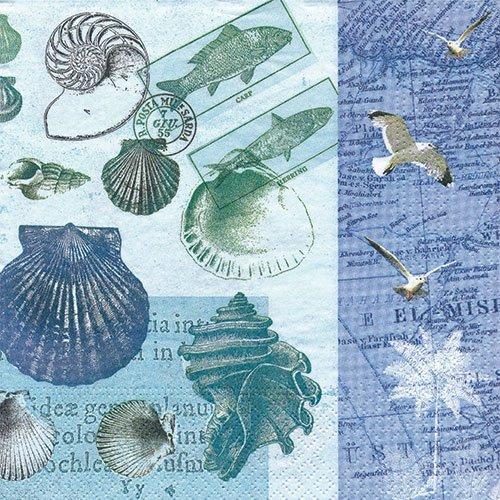 ペーパーナプキン(33)NOUVEAU:(5枚)Antique Shells-NO75