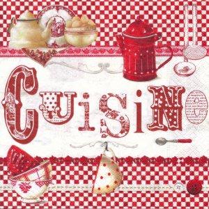 ペーパーナプキン(33)Nuova:(5枚)CUISINE(赤のチェック)-NU3