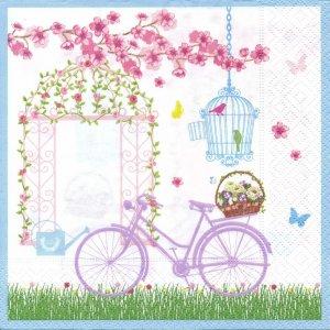 ペーパーナプキン(33)Nuova:(5枚)SPRING IN THE GARDEN(自転車)-NU22