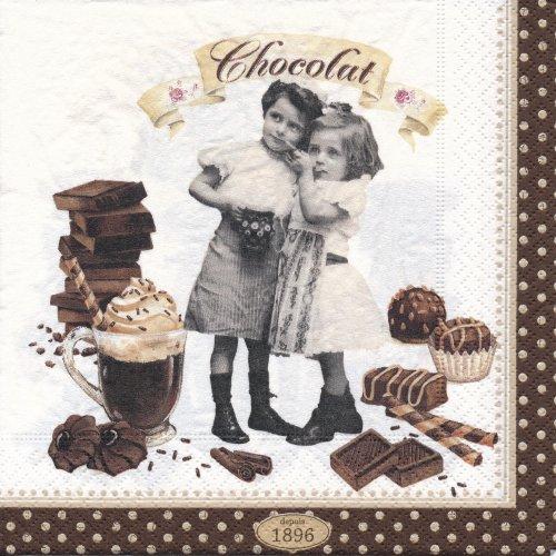 ペーパーナプキン(33)Nuova:(5枚)チョコレートビンテージ-NU88