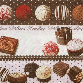 ペーパーナプキン(25)paper:(5枚)チョコレート(ボーダー)-PA1(25)