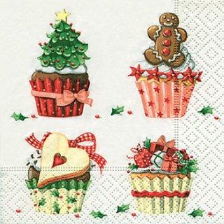 ペーパーナプキン(25)paper:(5枚)クリスマスマフィン-PA5(25)