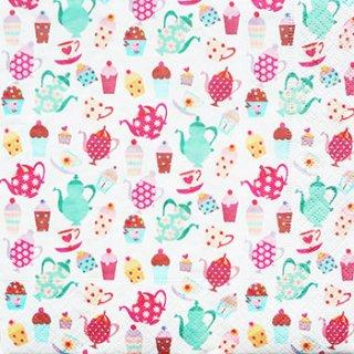 ペーパーナプキン(33)paper:(5枚)coffee and cakes(白地)-PA20