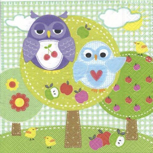 ペーパーナプキン(33)paper:(5枚)Owl park(グリーン)-PA21