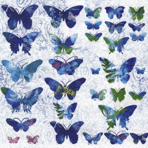 ペーパーナプキン(33)paper:(5枚)Fly away(ブルーの蝶)-PA28