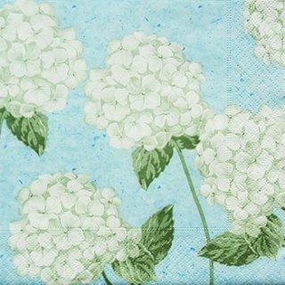 ペーパーナプキン(33)paper:(5枚)あじさいホワイト(ブルー地)-PA33