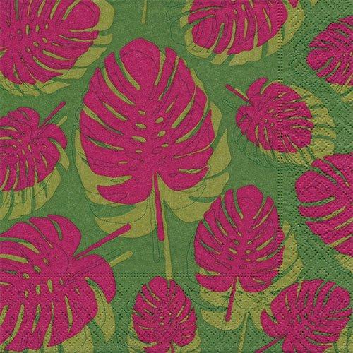 ペーパーナプキン(33)paper:(5枚)Pink leaves-PA199
