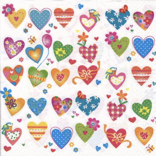ペーパーナプキン(33)paper:(5枚)Colourful hearts-PA250