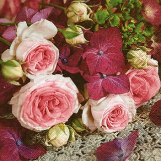 ペーパーナプキン(33)paper:(5枚)Hydrangea meets roses-PA253