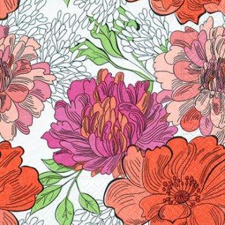 ペーパーナプキン(33)paper:(5枚)Zentangle flowers-PA260