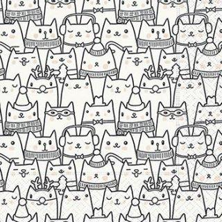 ペーパーナプキン(33)paper:(5枚)Snow cats-PA262