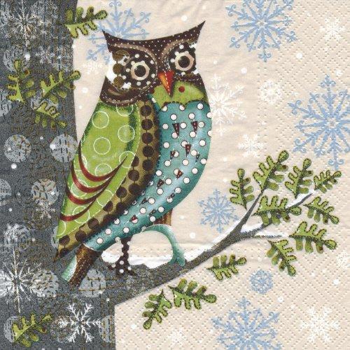 ペーパーナプキン(33)paw:(5枚)Owl on the Tree cream-PW85