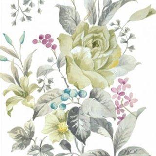 ペーパーナプキン(33)paw:(5枚)White Rose-PW113