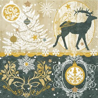 ペーパーナプキン(33)paw:(5枚)Royal Deer-PW183