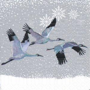 ペーパーナプキン(25)ppd:(5枚)Snowfall Cranes-PP20(25)