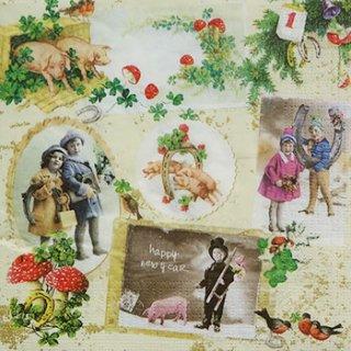 ペーパーナプキン(33)ppd:(5枚)Vintage New Year-PP7