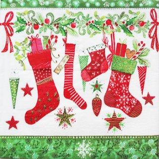 ペーパーナプキン(33)ppd:(5枚)クリスマス靴下6054-PP20