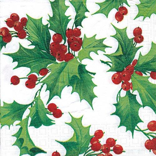 ペーパーナプキン(33)ppd:(5枚)Holly Berries-PP91