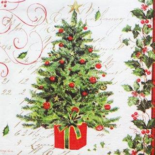 ペーパーナプキン(33)ppd:(5枚)Tree and Holly-PP107