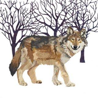 ペーパーナプキン(33)ppd:(5枚)Winter Wolf-PP113