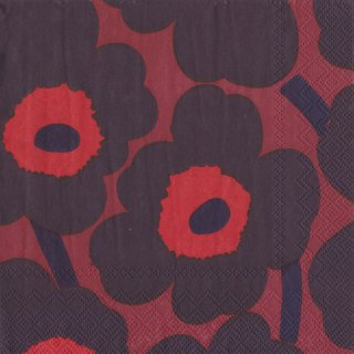ペーパーナプキン(33)marimekkoマリメッコ:(5枚)【97】UNIKKO dark red