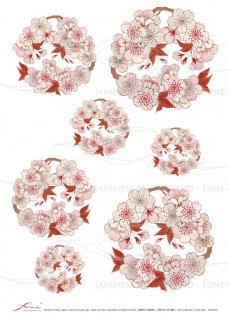 デコパージュ用ライスペーパー「FUNE」JSAR1016 陶絵 桜花丸紋