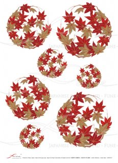デコパージュ用ライスペーパー「FUNE」JSAR1017 陶絵 丸紋紅葉(赤)