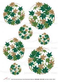 デコパージュ用ライスペーパー「FUNE」JSAR1018 陶絵 丸紋紅葉(緑)