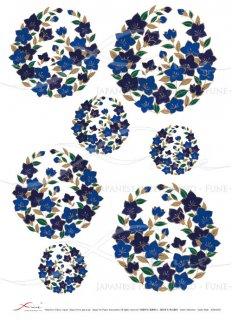 デコパージュ用ライスペーパー「FUNE」JSAR1023 陶絵 丸紋桔梗