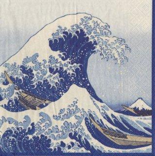 ペーパーナプキン(33)caspari:(5枚)葛飾北斎 神奈川沖浪裏(ブルー)-CA102