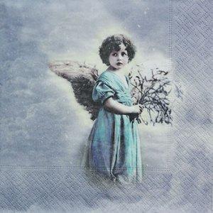 ペーパーナプキン(33)Sagen:(5枚)【37】ターコイズの天使