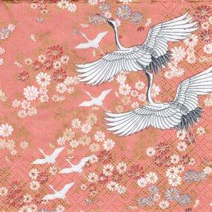 ペーパーナプキン(33)AVA:(5枚)Kimono(コーラル)-AV10