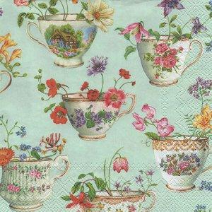 ペーパーナプキン(33)IHR:(5枚)CUP OF FLOWERS green-IH424