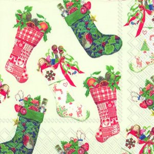 ペーパーナプキン(33)IHR:(5枚)CHRISTMAS STOCKINGS white-IH289