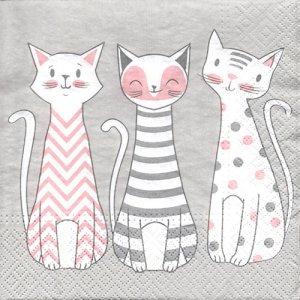 ペーパーナプキン(33)TETEaTETE:(5枚)猫-TE18