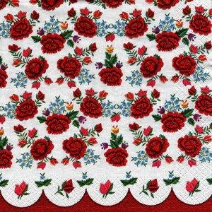 ペーパーナプキン(33)Maki:(5枚)Poppies Embroidery Pattern-MA170