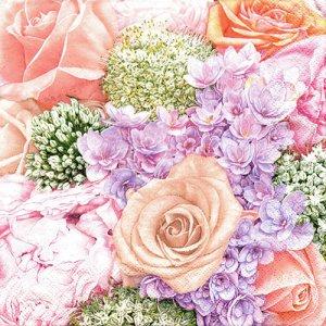 ペーパーナプキン(33)Maki:(5枚)Pastelcolour Bunch of Summer Flowers-MA164