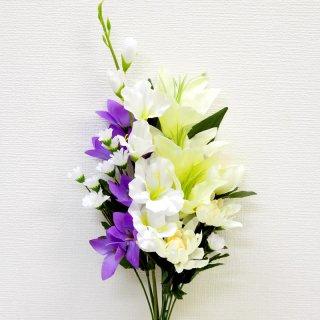 仏花 造花 仏壇用 お墓用 【 白アレンジ 中 】