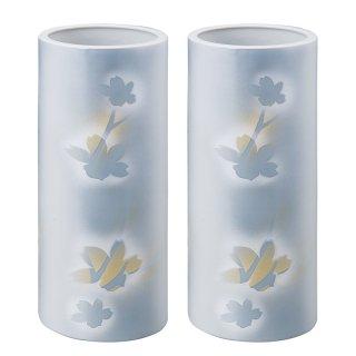 仏壇用花瓶/仏間用花瓶 紋箔銀彩10号