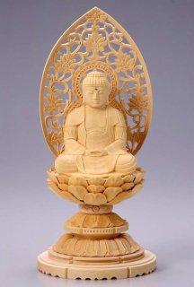 仏像 座釈迦 釈迦如来(白木 桧・丸台座) 3.0寸