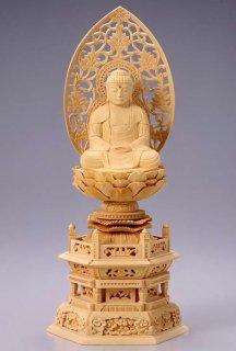 仏像 座釈迦 釈迦如来(白木 桧・六角座) 2.5寸