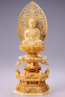仏像 座釈迦 釈迦如来(白木 桧・ケマン座) 3.0寸