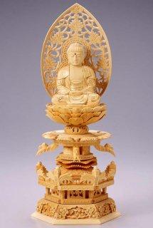 仏像 座釈迦 釈迦如来(白木 桧・ケマン座) 3.5寸