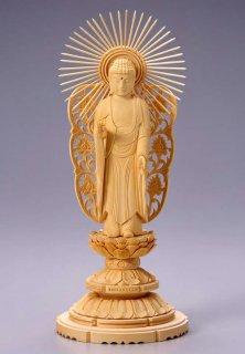 仏像 西立弥陀 阿弥陀如来(白木 桧・丸台座) 5.0寸