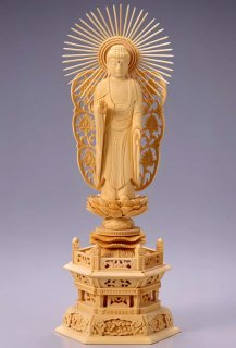 仏像 西立弥陀 阿弥陀如来(白木 桧・六角座) 4.0寸