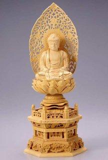仏像 座釈迦 釈迦如来(柘植 ツゲ・六角座) 3.0寸