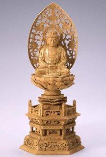 仏像 座釈迦 釈迦如来(樟 クス・六角座) 3.5寸